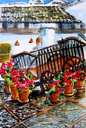 Red Roof Drawings Framed Prints - Malaga Spain Flower Cart Framed Print by Mindy Newman