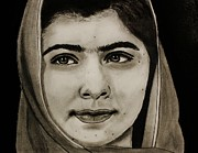 Michael Cross Metal Prints - Malala Yousafzai- Teen Hero Metal Print by Michael Cross