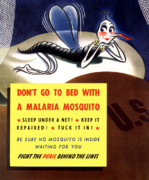 Propaganda Digital Art Metal Prints - Malaria Mosquito Metal Print by War Is Hell Store