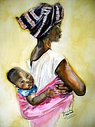 Charlton Paintings - Malawian Mother by Shirley Roma Charlton