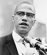 Racism Metal Prints - Malcolm X 1925-1965, Forceful African Metal Print by Everett