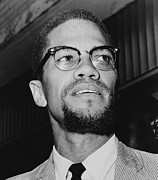 Black Leaders Framed Prints - Malcolm X 1925-1965 In 1964, The Year Framed Print by Everett