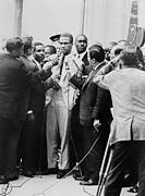 Black Muslims Framed Prints - Malcolm X Being Interviewed Framed Print by Everett