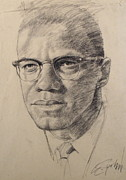 African-american Drawings - Malcolm X by Cliff Spohn