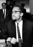 Malcolm X Framed Prints - Malcolm X, During A Press Conference Framed Print by Everett