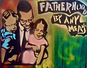 Malcolm X Painting Prints - Malcolm X Fatherhood 1 Print by Tony B Conscious