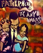 Malcolm X Painting Prints - Malcolm X Fatherhood 2 Print by Tony B Conscious