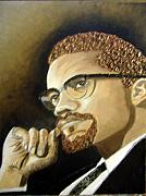 Keenya Woods Mixed Media Originals - Malcolm X by Keenya  Woods
