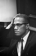 1960s Candids Framed Prints - Malcolm X, Malcolm X Waits At Martin Framed Print by Everett