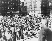 Discrimination Photo Prints - Malcolm X, Speaking To An Outdoor Rally Print by Everett