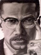 Graphite Drawings Drawings Posters - Malcolm X Poster by Wil Golden