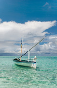 Nature Center Prints - Maldivian Boat Dhoni on the Peaceful Water of the Blue Lagoon Print by Jenny Rainbow