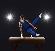 Young Man Posters - Male Gymnast On Pommel Horse Poster by Mike Harrington