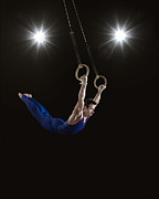 Young Man Posters - Male Gymnast On Rings Poster by Mike Harrington