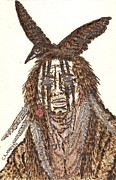 Indian Pyrography Framed Prints - Male Indian Framed Print by Clarence Butch Martin