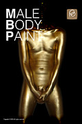 Bodypaint Framed Prints - Male Metallic Gold Body Painting  Framed Print by Paint Penis