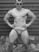Nude Models Photo Prints - Male Muscle Art  Bodybuilder  Print by Jake Hartz