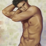 Nude Digital Art Posters - Male nude 1 Poster by Simon Sturge