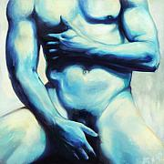 Painterly Framed Prints - Male nude 3 Framed Print by Simon Sturge