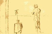 Table Cloth Drawings - Male Nude by House Plant by Sheri Parris