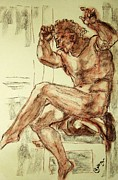 Sepia Chalk Drawings Prints - Male Nude Figure Drawing Sketch with Power Dynamics Struggle Angst Fear and Trepidation in Charcoal Print by MendyZ M Zimmerman