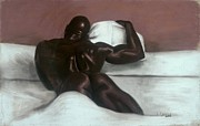 Black Art Framed Prints - Male Nude Framed Print by L Cooper