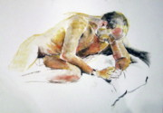 Contemplating Pastels - Male nude looking down by June Schneider