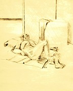 Studio Drawings - Male Nude Reclining on Cushion by Sheri Parris
