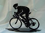 Bicycle Sculpture Posters - Male road racer Poster by Steve Mudge