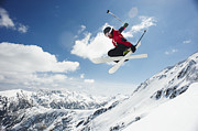 Young Man Posters - Male Skier Jumping Off Bansko Cornice Poster by Mike Harrington