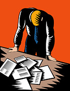 Paperwork Prints - Male Worker Depressed Unemployed Print by Aloysius Patrimonio