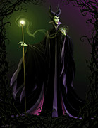 Black  Metal Prints - Maleficent Metal Print by Christopher Ables