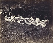 Black And White Nudes Prints - Males nudes in a seated tug-of-war Print by Thomas Cowperthwait Eakins