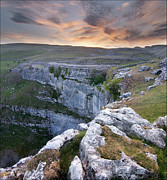Geography Art - Malham Sunset. by Terry Roberts Photography
