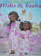 Sasha-obama Posters - Malia and Sasha Poster by Artists With Autism Inc