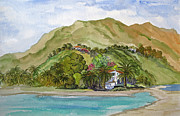 Malibu Painting Prints - Malibu Lagoon and Adamson House Print by Bonnie Sue Schwartz