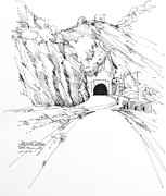 Tunnel Drawings Prints - Malibu Santa Monica Mountains - Kanan Road Tunnel Print by Robert Birkenes