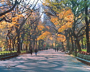 Park Benches Painting Posters - Mall Central Park New York City Poster by George Zucconi