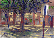 Plein Air Drawings - Mall Entrance by Donald Maier