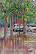 Stop Sign Pastels - Mall Parking by Donald Maier