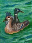 Polonia Art Paintings - Mallard Ducks by Anna Folkartanna Maciejewska-Dyba