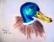Animal Mixed Media Metal Prints - Mallard Metal Print by Mike Grubb