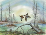 Waterscape Painting Metal Prints - Mallards Flying Over Dead Tree Metal Print by Samuel Showman