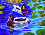 Ducks Paintings - Mallards in the Pads by Bob Crawford