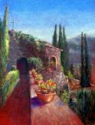 Mallorcan Monastery Print by Shirley Leswick