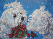 Maltese Dog Framed Prints - Maltese Christmas Framed Print by LA Shepard
