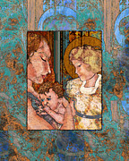 Mary Ogle Posters - Mama and Baby and Angel Poster by Mary Ogle