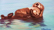 Otter Paintings - Mama and Baby Otter by Victoria Rhodehouse