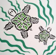 Baby Sea Turtle Paintings - Mama and Baby Sea Turtle by Beth Akerman