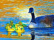 Mama And Her Goslings Print by Deborah MacQuarrie